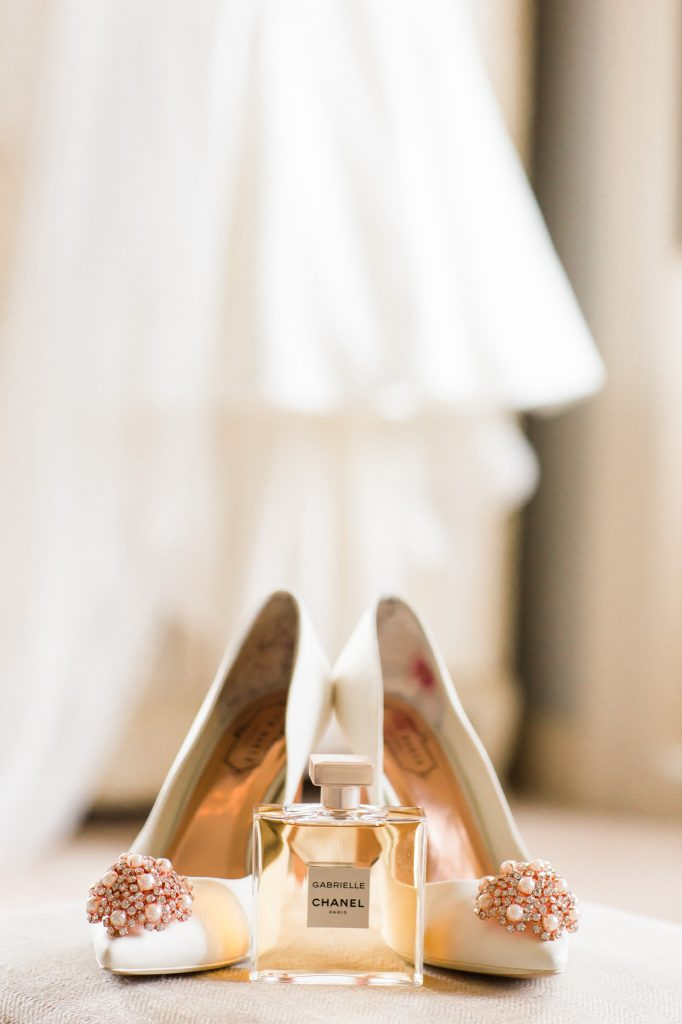 Bridal shoes and perfume